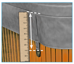 depiction of how to measure the hot tub cover strap length with a rule
