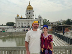 Lee and Terry at Gurudwara Bangla Sahib