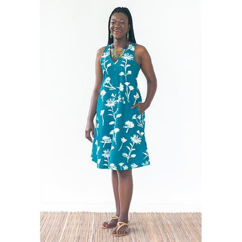 Oaklynn Dress Teal Wildflower
