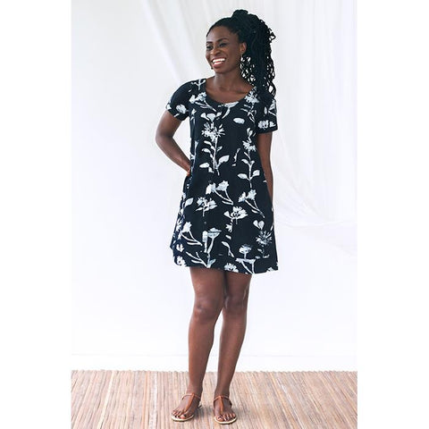 Button Front Dress Black Wildflower