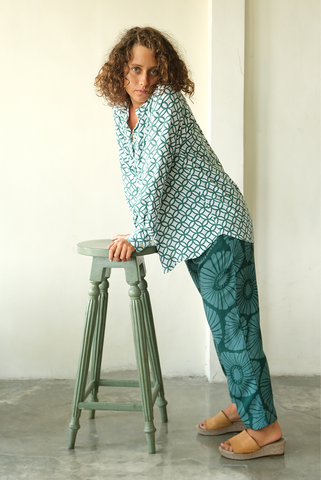 Lounging Pants Emerald Flowers