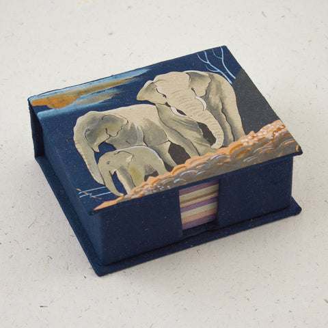 Note Box Elephants Dark Blue