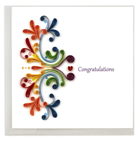 Quilled Rainbow Swirl Congratulations Card