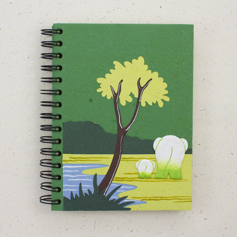Large Notebook Elephants Dark Green