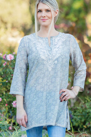 Deena Silver Embroidered Tunic