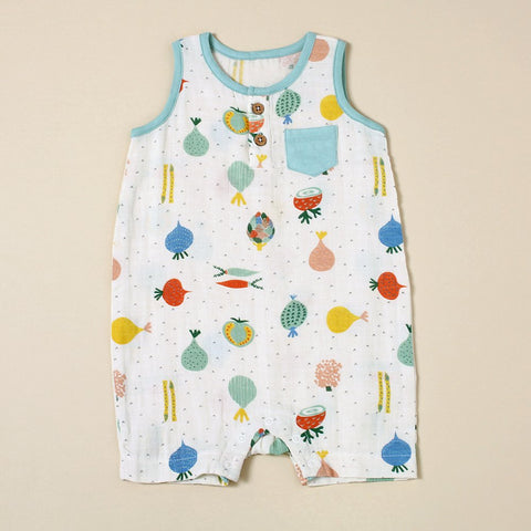 Sleeveless Romper with Pocket - Veggie Salad