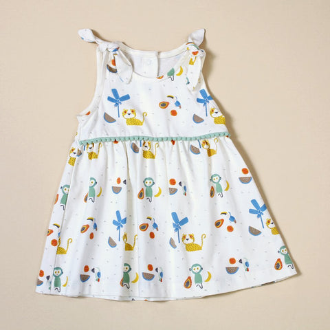 Shoulder Tie Dress with Bloomers - Tropical Jungle