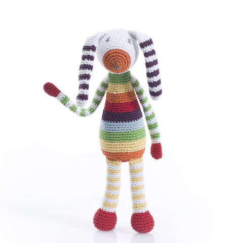 Rainbow Striped Bunny Rattle