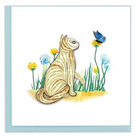 Quilled White Cat & Butterfly Card