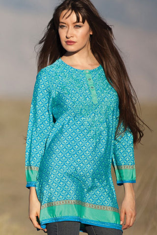 Deena Turquoise Embroidered Tunic