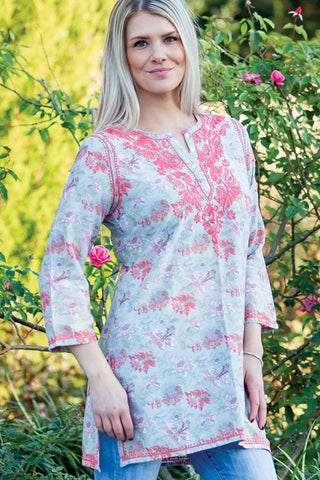 Deena Peach Embroidered Tunic