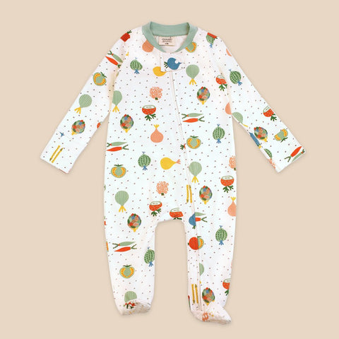 Zipper Footie Coverall - Veggie Salad
