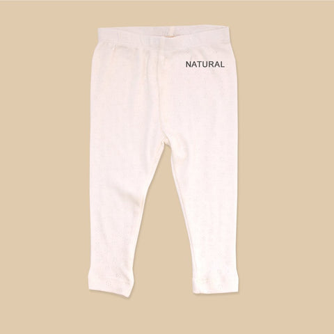 Pointelle Stretch Leggings - Natural