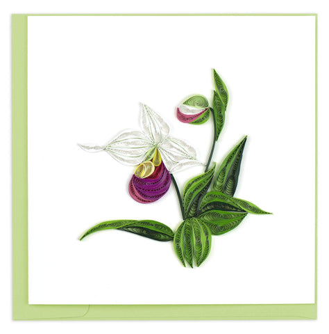 Quilled Pink & White Lady's Slipper Card