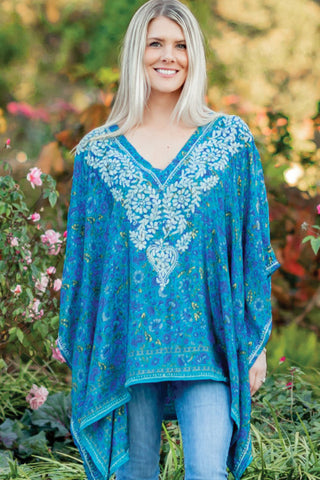 Demira Peacock Blue Embroidered Tunic