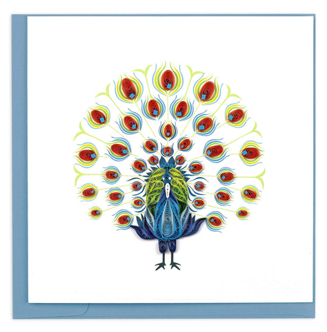 Quilled Dancing Peacock Card