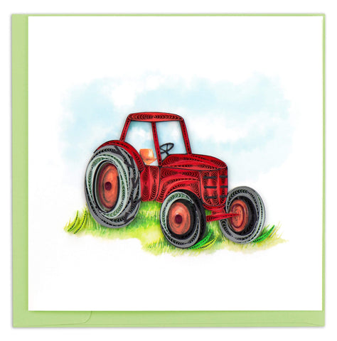 Quilled Red Tractor Card