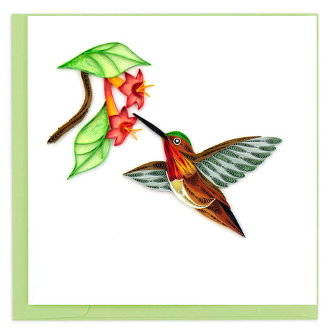 Quilled Rufous Hummingbird Card