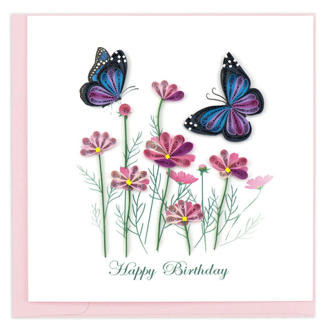 Quilled Birthday Flowers & Butterflies Card