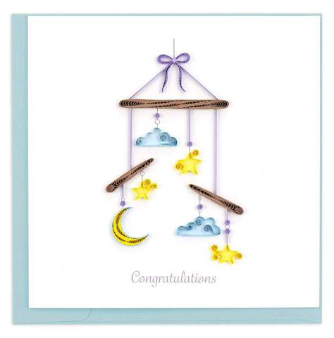 Quilled Night Sky Baby Mobile Card