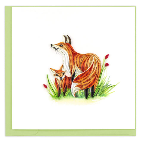 Quilled Fox & Cub Card