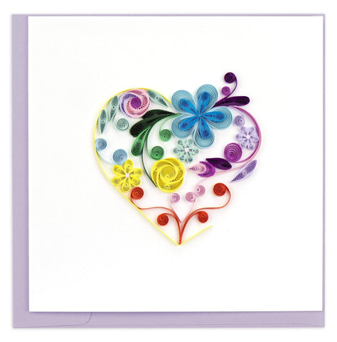 Quilled Floral Rainbow Heart Card
