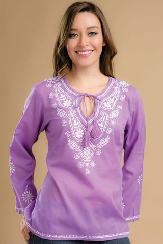 Sarika Lavender Embroidered Top