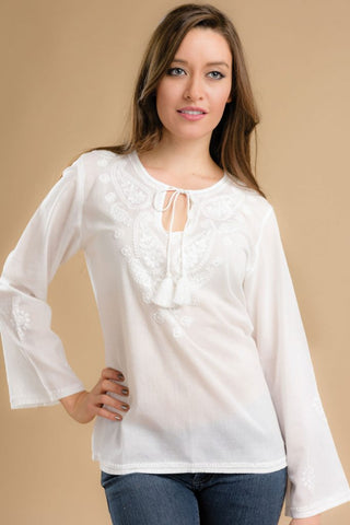 Sarika White Embroidered Top