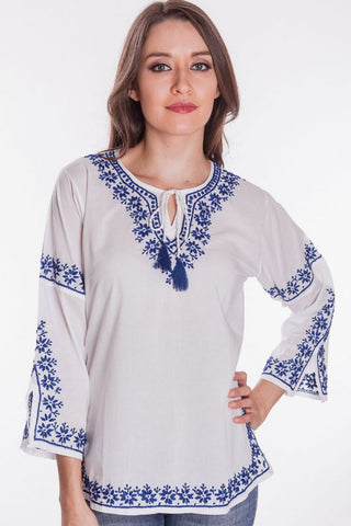 Veena White & Navy Top
