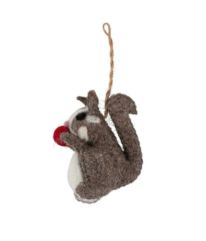 Happy Squirrel Felt Ornament