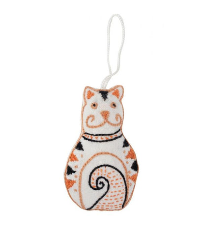 Embroidered Cat Ornament