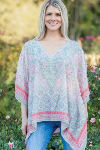 Taneesha Silver & Rose Embroidered Top