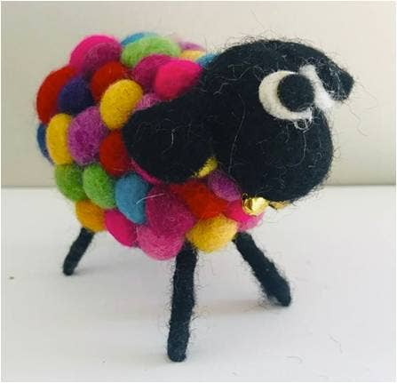 Rainbow Wool Sheep with Bell
