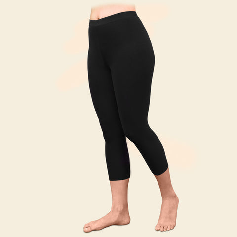 Organic Cotton Black Mid-Calf Leggings