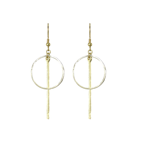 Bar Hoop Drop Earrings