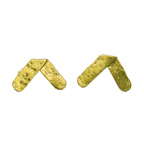 Axis Hammered Post Earrings Gold