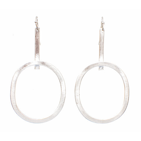 Elongated Hoops Silver