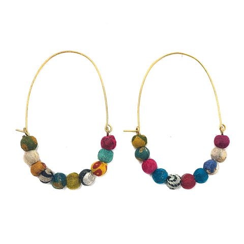 Elongated Kantha Wire Hoops