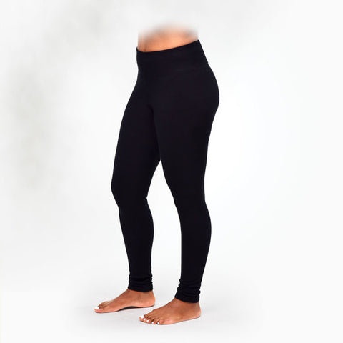 Organic Cotton Black Fleece Leggings