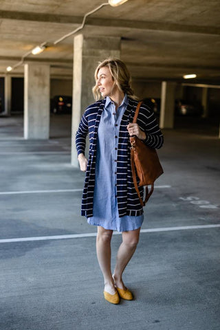 Navy Regal Stripe Open Cardi