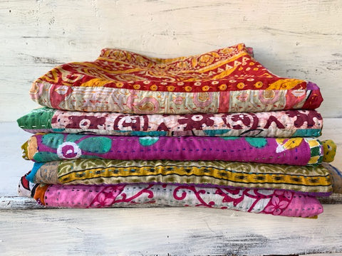Kantha Square Throw - Warm Colors