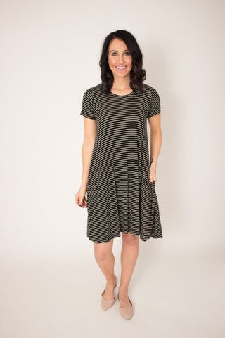 Pinstripe Pocket Swing Dress