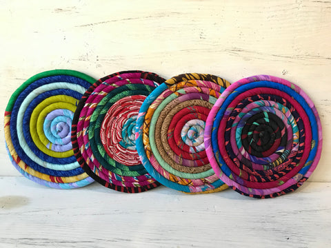 Coiled Recycled Sari Trivet