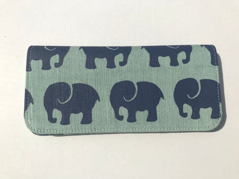 Cotton Screen Print Wallet - Elephant