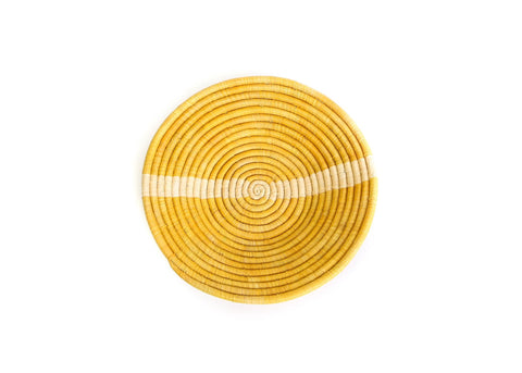 Large Mustard Striped Round Basket