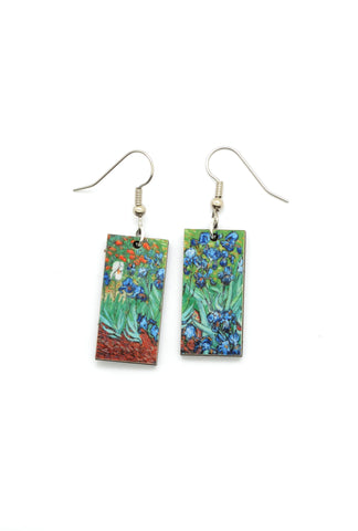 Art Dangle Earrings: Irises