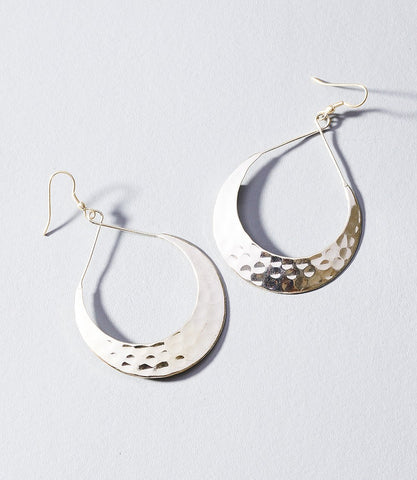 Lunar Crescent Earrings Silver