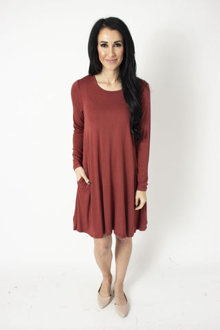 Rouge Long Sleeve Swing Dress