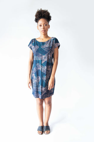 Basic T-Shirt Dress Navy Palm