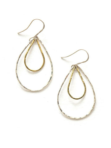Mixed Metal Teardrop Dangle Earrings